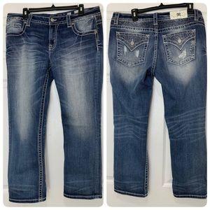 MISS ME Mid Rise Easy Crop Denim Blue Jeans 31x27